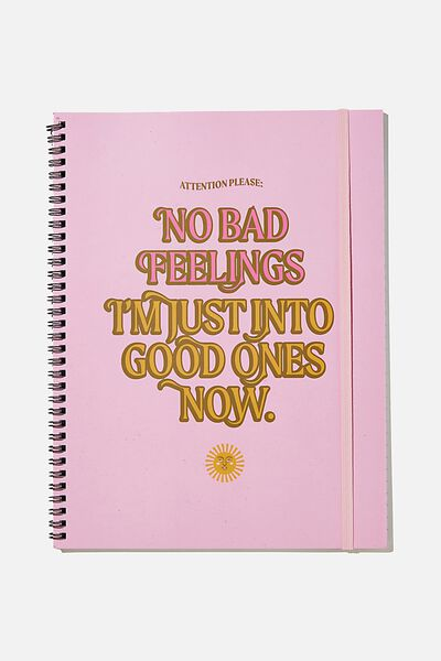 A4 Spinout Notebook Recycled, NO BAD FEELINGS