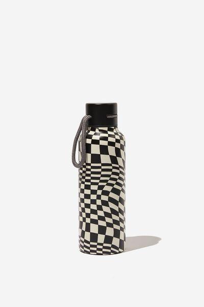 Boxed Metal Drink Bottle, WARPED CHECKERBOAD BLACK