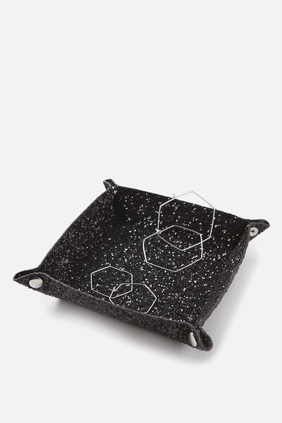Foldable Trinket Tray, BLACK GLITTER