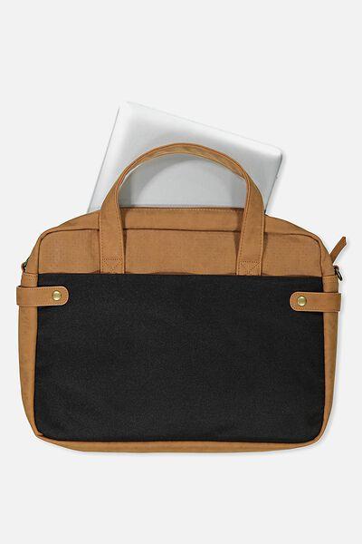 Varsity Laptop Bag, PERFORATED TAN