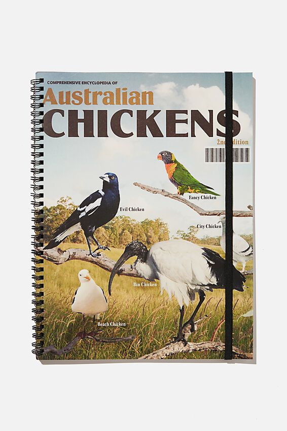 A4 Spinout Notebook Recycled, RG AUS AUSSIE CHICKENS