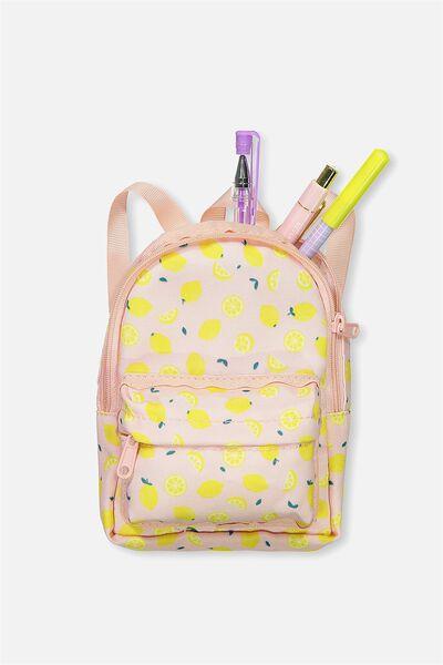 Backpack Pencil Case, PINK LEMONS