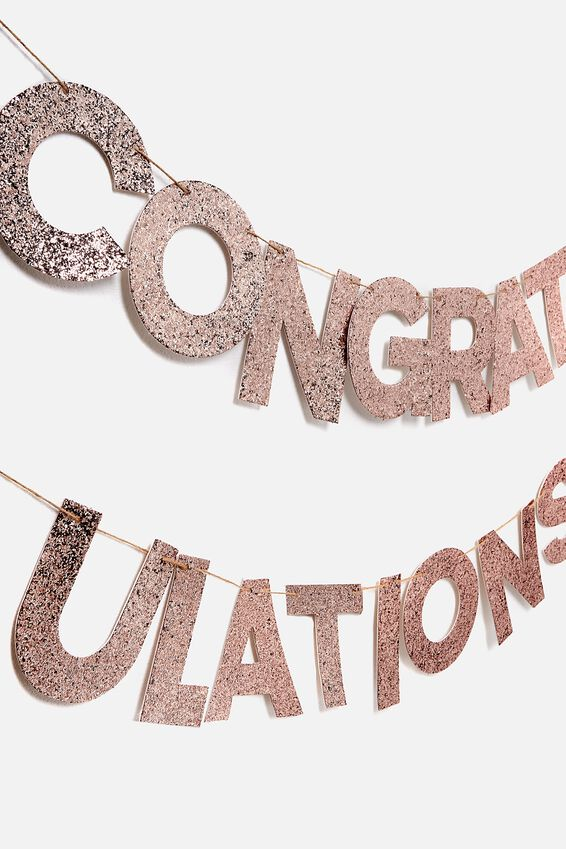 Quote Bunting, ROSE GOLD GLITTER CONGRATULATIONS