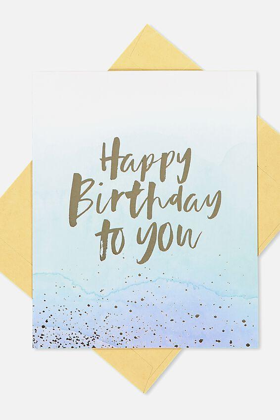 Nice Birthday Card, WATERCOLOUR GOLD BIRTHDAY