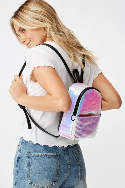 Mini Cairo Backpack, TEXTURED HOLOGRAPHIC