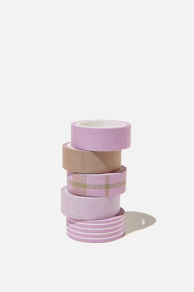 Washi Tape 5Pk, RETRO CHECK PLASTIC PINK