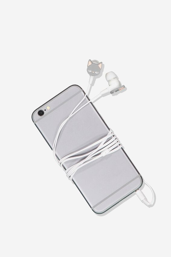 Novelty Earphones, GREY CAT