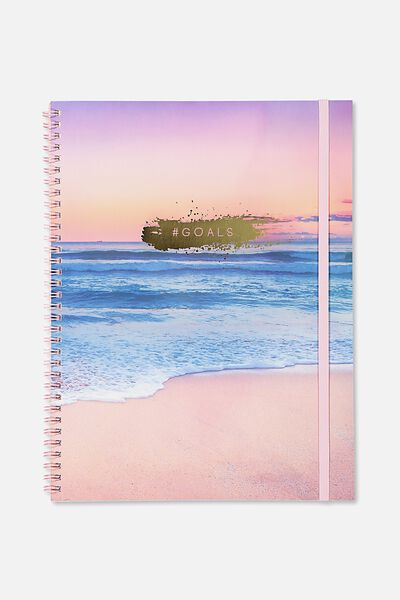 A4 Spinout Notebook - 120 Pages, OCEAN SUNSET GOALS
