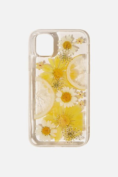 Protective Phone Case iPhone 11, TRAPPED FLOWERS & LEMONS