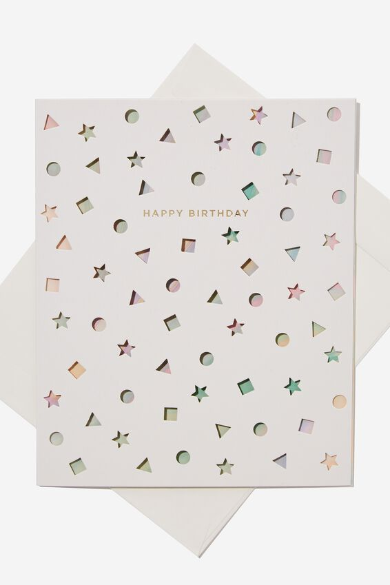 Premium Nice Birthday Card, DIE CUT SHAPES GELATI MARBLE