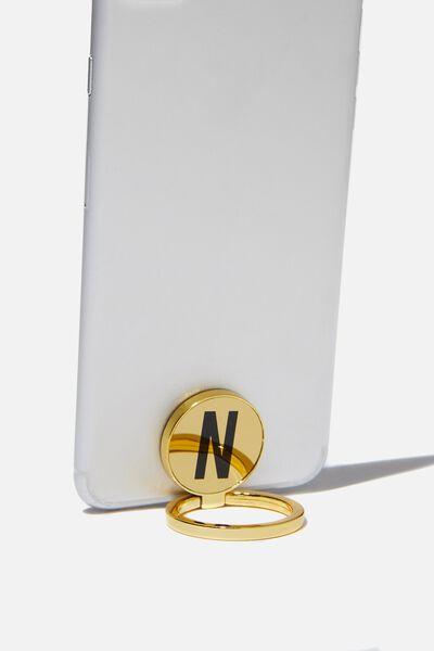 Metal Alpha Phone Ring, GOLD N