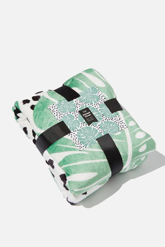 Printed Throw, MONSTERA POLKA