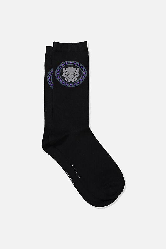 Mens Novelty Socks, LCN MARVEL BLACK PANTHER LOGO