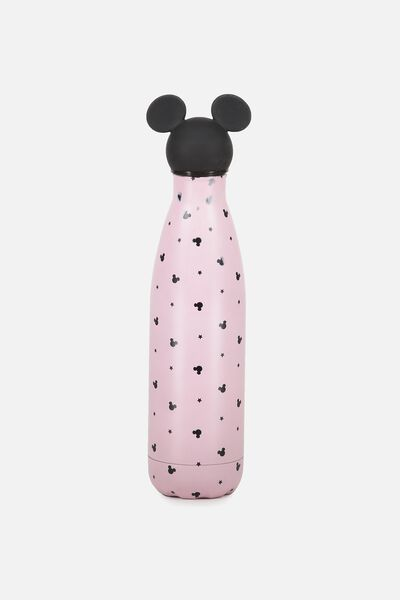 Premium Metal Drink Bottle, LCN MICKEY TOPPER BLUSH PRINT
