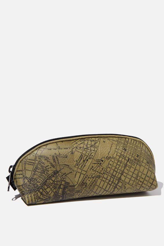 Curved Pencil Case, KHAKI MAP