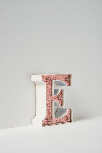 Mini Marquee Letter Lights 10cm, WHITE WITH ROSE GOLD GLITTER E