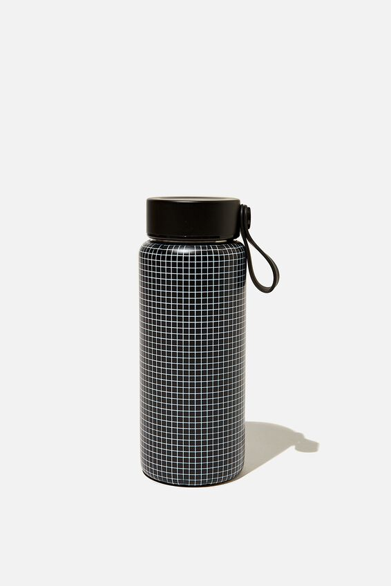 On The Move Metal Drink Bottle 350Ml, BLACK GRID