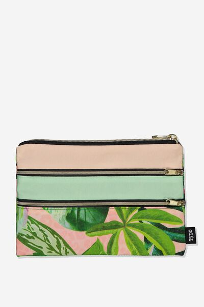 Double Archer Pencil Case, PINK PALM