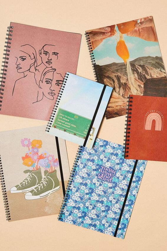 A4 Spinout Notebook Recycled, CORNFLOWER DITSY FLORAL