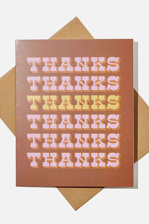 Thank You Card, THANKS REPEAT RUST PINK