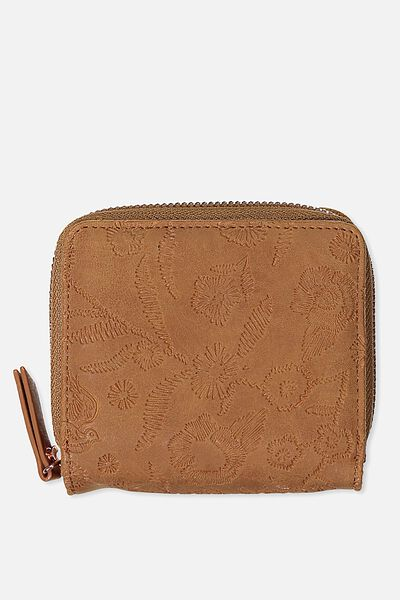 Mini Wallet, MID TAN FLORAL