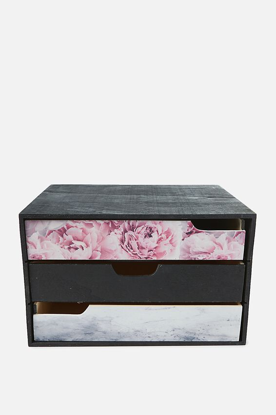 Mini Desk Drawer Storage, BLACK PINK MARBLE