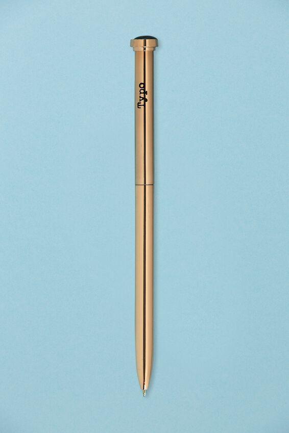 Initial Ballpoint Pen, ROSE GOLD J