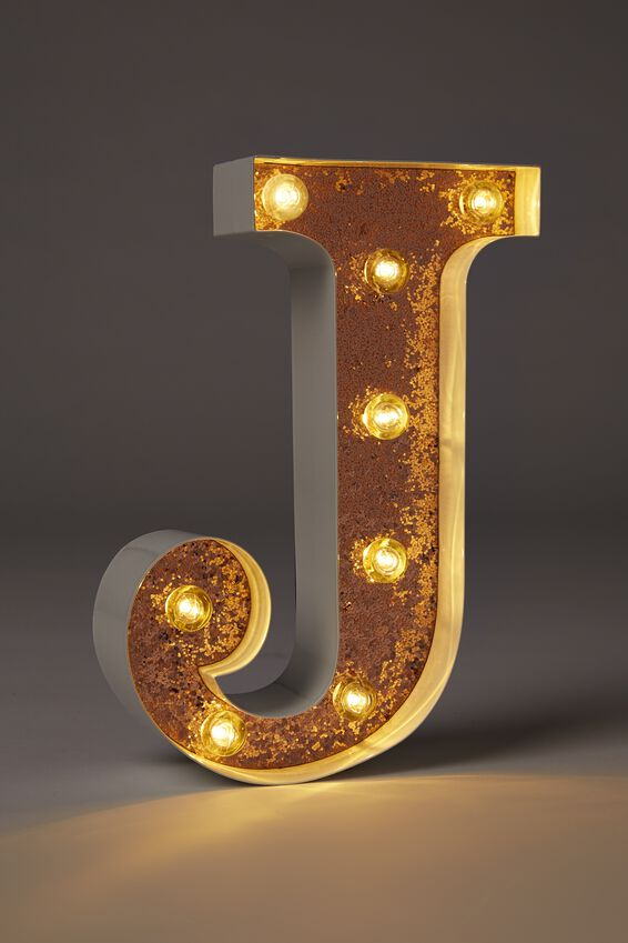 Small Marquee Letter Lights 23cm, WHITE WITH ROSE GOLD GLITTER J