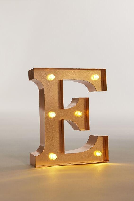 """Marquee Letter Lights Premium 6.3"""" Midi, ROSE GOLD E"""