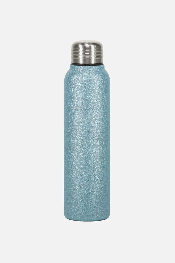 Small Metal Drink Bottle, BLUE GLITTER