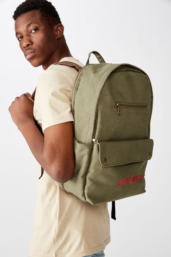 Personalised Formidable Backpack, WASHED KHAKI