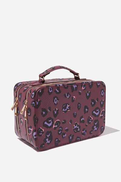 Premium Cosmetic Case, BURGUNDY LEOPARD