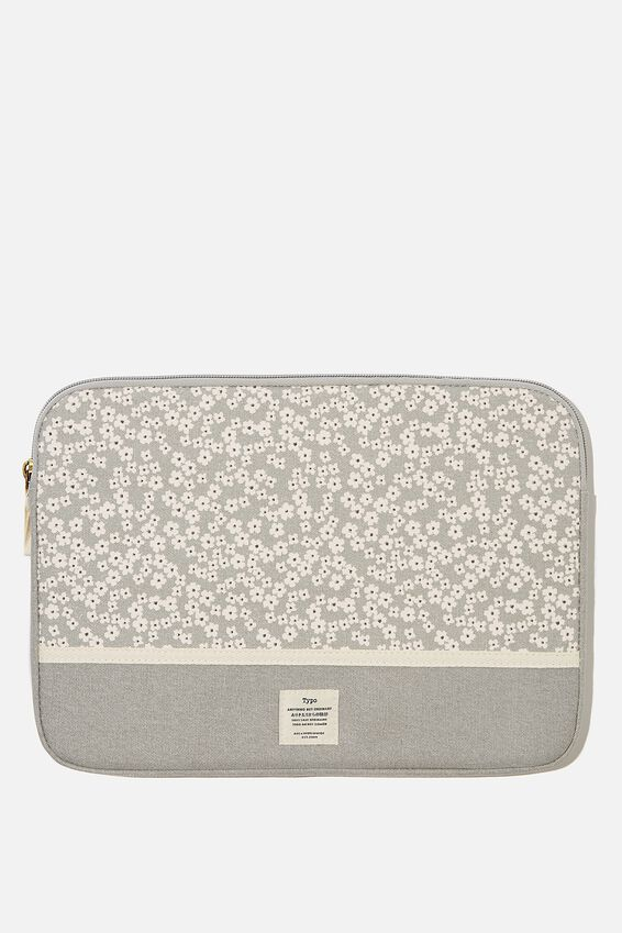 Canvas 13 Inch Laptop Case, CHERRY BLOSSOM COOL GREY WITH COOL GREY SPLIC