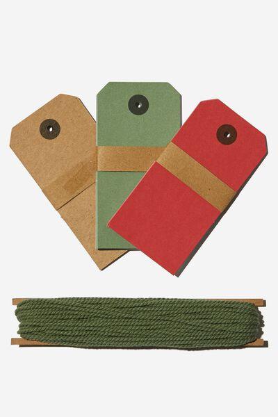 Tag & Twine Set, RED GREEN KRAFT