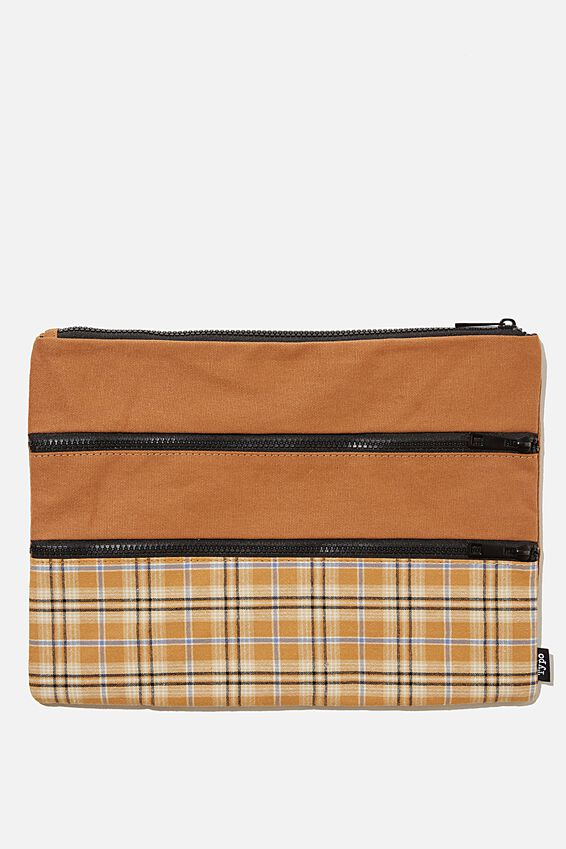Keep It Together Pencil Case, PLAID MUSTARD