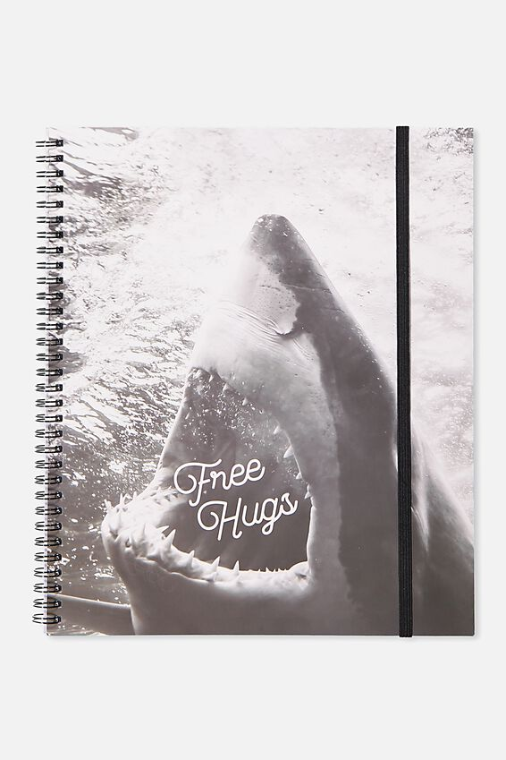 College Ruled Spinout Notebook V, FREE HUGS SHARK