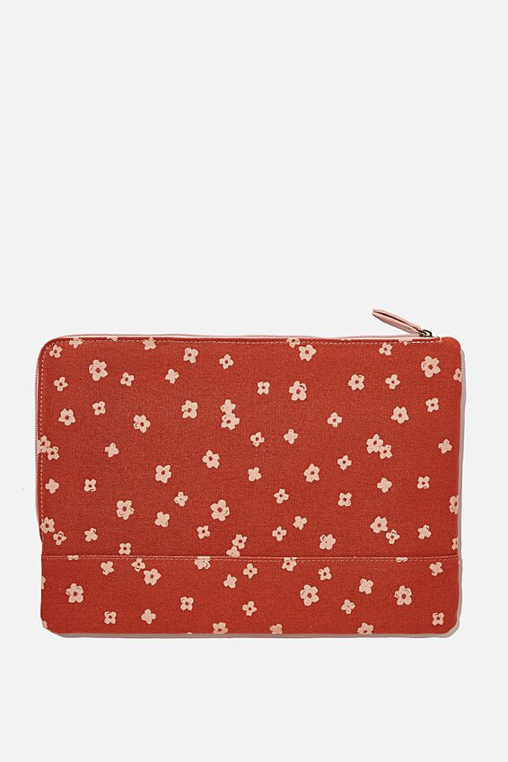Oxford 13 Laptop Canvas PU Case, CHARLIE FLORAL RUST & NUDE PINK