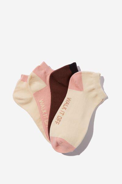 4 Pack Of Ankle Socks, FEM FACES WALK IT OFF (S/M)