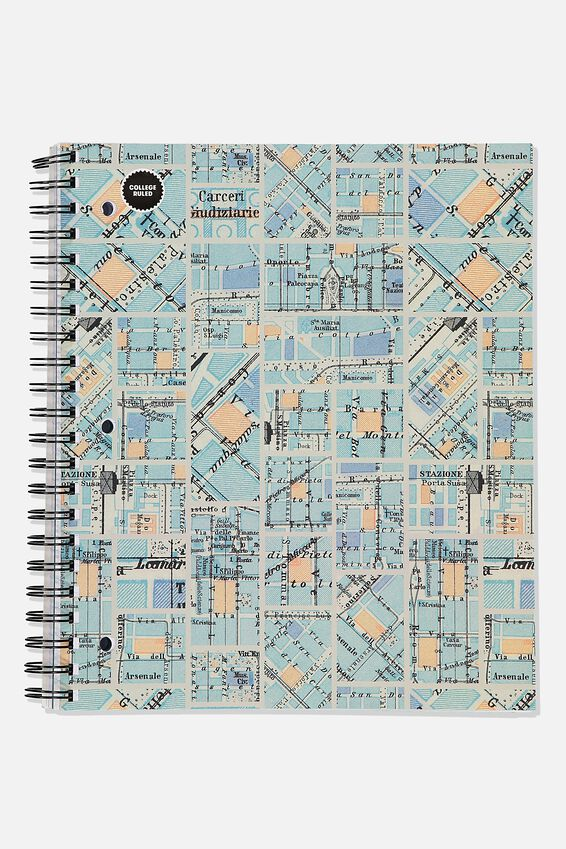 College Ruled Campus Notebook, BLUE GRID MAP