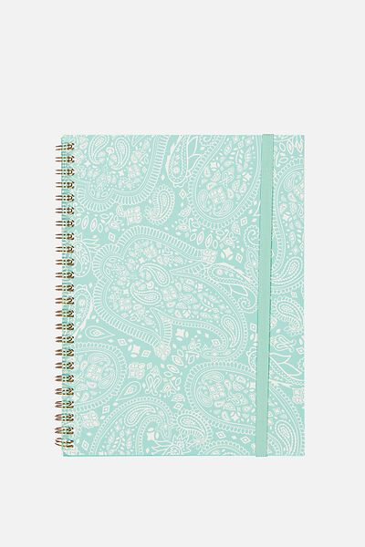 A5 Spinout Notebook - 120 Pages, AQUA LACE