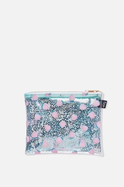 Clear It Pencil Case, BLUE STRAWBERRIES