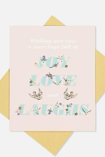 Wedding Card, LOVE, JOY & LAUGHS