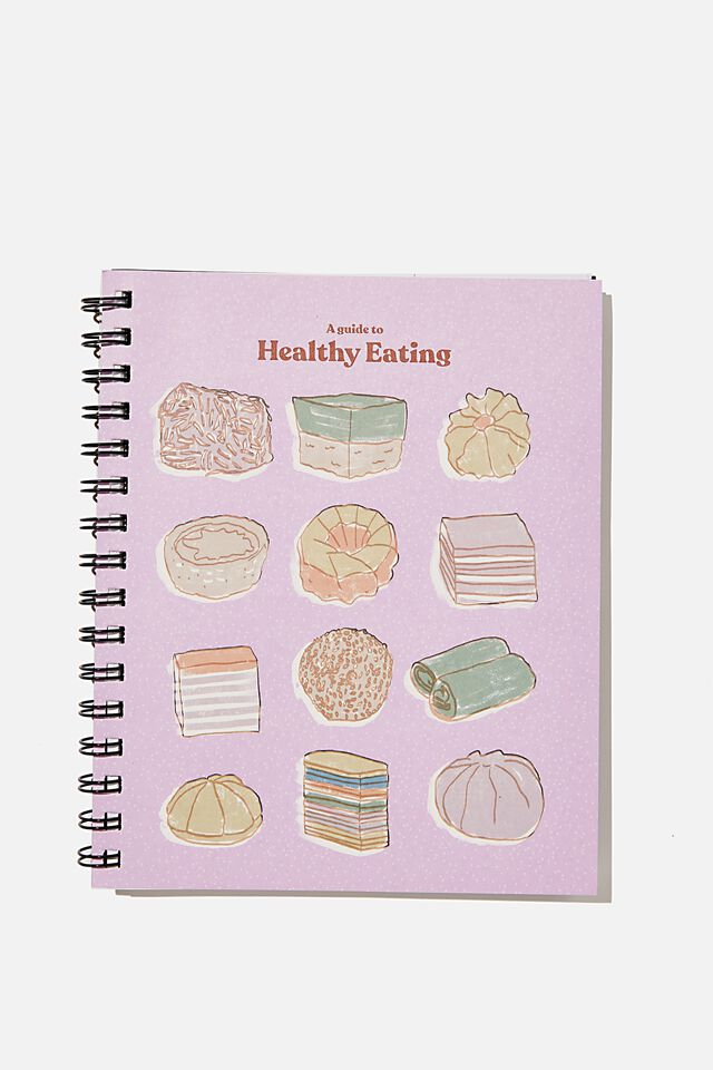 A5 Campus Notebook Recycled, RG ASIA EATING FOOD ILLUSTRATION