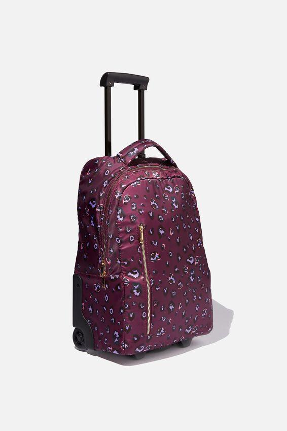 Soft Shell Suitcase, BURGUNDY LEOPARD