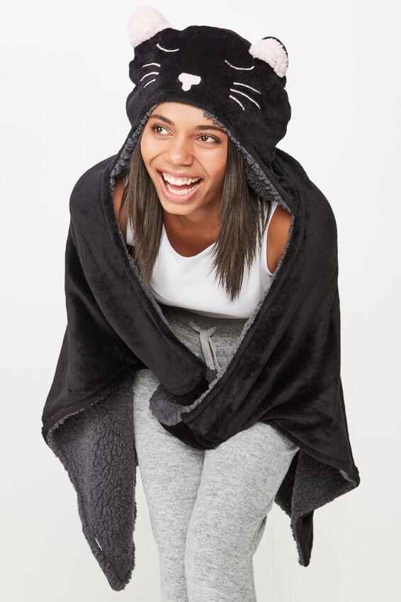 Novelty Hooded Blanket, BLACK CAT