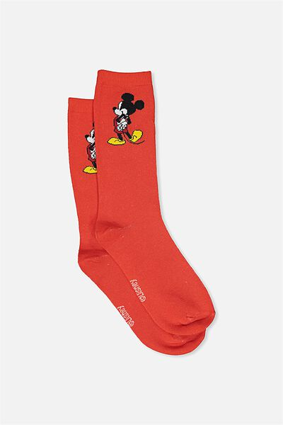 Womens Novelty Socks, LCN RED MICKEY MOUSE