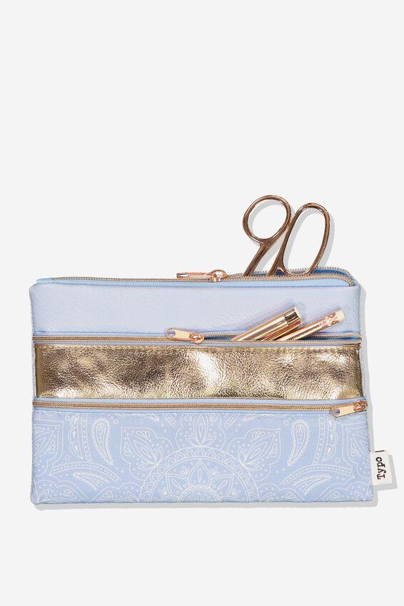Double Archer Pencil Case, COBALT MANDALA