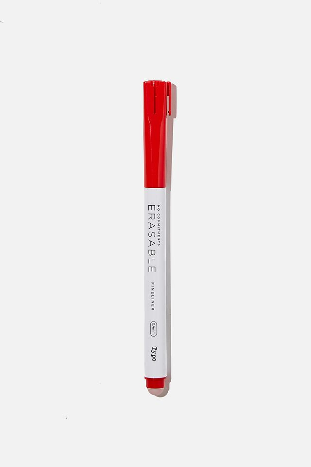 No Commitments Erasable Fineliner, RED