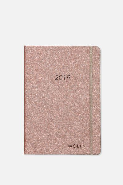 Personalized 2019 A5 Weekly Buffalo Diary, ROSE GOLD GLITTER