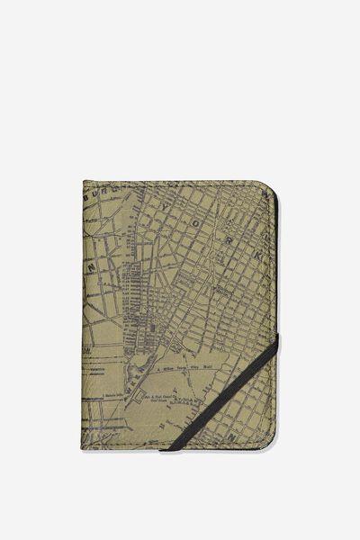 Rfid Passport Holder, GREEN MAP PRINT